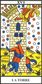 """Arcano 16, """"La Torre"""" o """"La Casa de Dios"""", del Tarot de Marsella."""