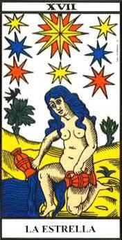 """Arcano 17, """"La Estrella"""", del Tarot de Marsella."""
